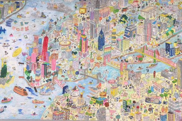 英語塾キャタル渋谷校に飾っている絵。「夢をかなえよう!」という想いを込めて、生徒・教師・スタッフみんなで色を塗りました。