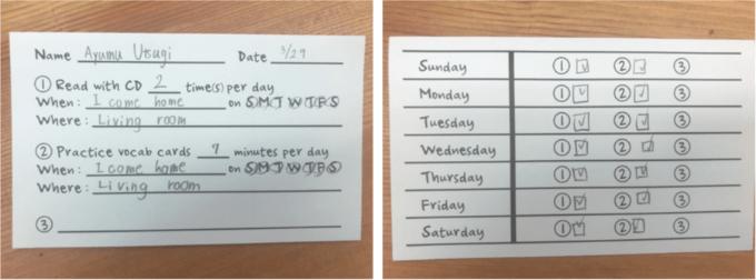 歩さんのホームワークカード。週7日実施すると決めて実行できています。